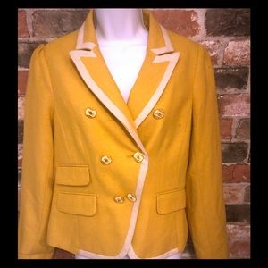 LOFT Wool Yellow blazer w/off white piping    sz2